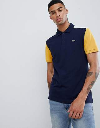Lacoste color block polo in navy