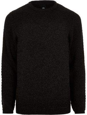 River Island Mens Big and Tall black slim fit textured sweater