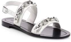 Coach Eden Chain Flat Leather Sandals