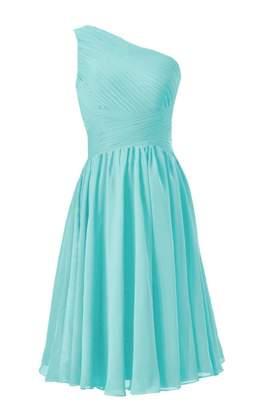 Tiffany & Co. DaisyFormals reg; Vintage Party Dress One-Shoulder Short Bridesmaid Dress (BM351 Blue