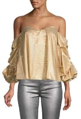 Caroline Constas Gabriella Metallic Cropped Off-the-Shoulder Top