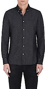 Officine Generale MEN'S ANTIME BRUSHED COTTON OXFORD BUTTON-FRONT SHIRT-BLACK SIZE L