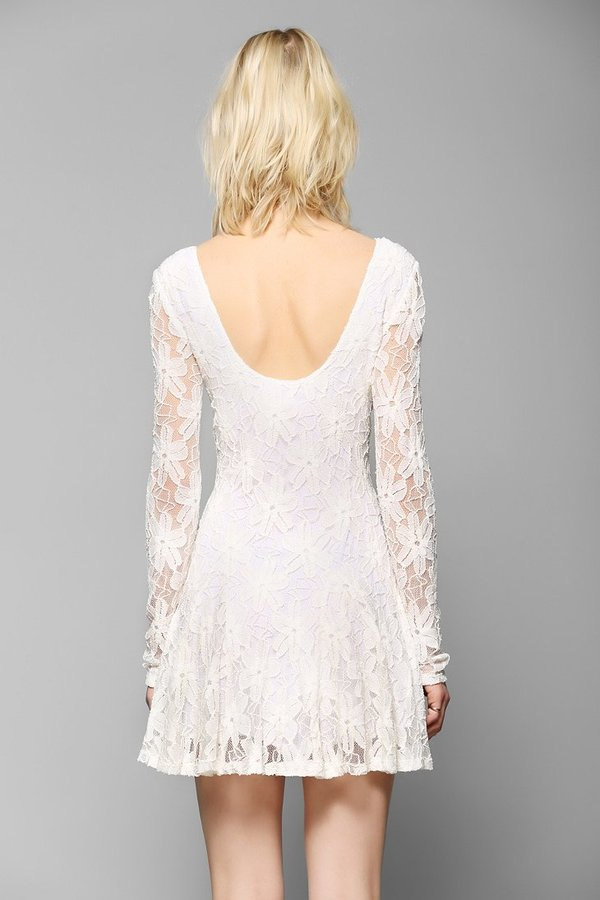 Lucca Couture Long-Sleeve Lace Fit & Flare Dress