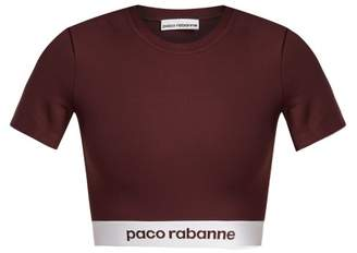 Paco Rabanne Bodyline Logo Jacquard Performance Cropped Top - Womens - Burgundy