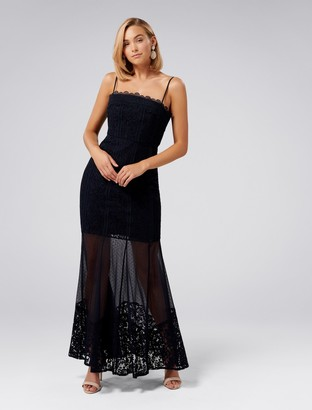 Forever New Abigail Lace Fishtail Dress - Navy - 4