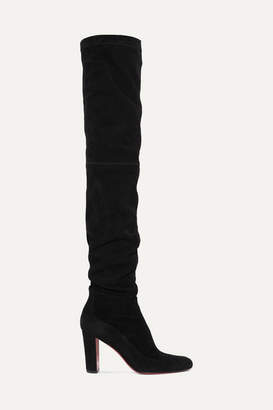 Christian Louboutin Kiss Me Gena Suede Thigh Boots - Black