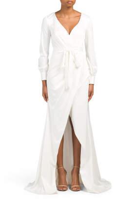 Satin Wrap Style Long Dress