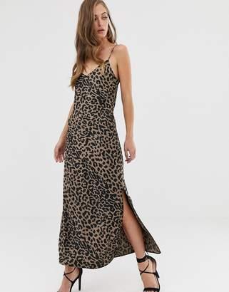 Asos Design DESIGN satin cami maxi slip dress in leopard print