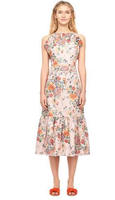 Rebecca Taylor Marlena Floral Linen Ruffle Top