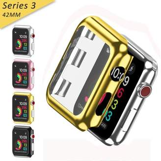 clear Apple Watch Series 3 Case [42mm] ,Full Cover Snap-On Cover with Built-in Glass Screen Protector Anti-Scratch & Shockproof Hard PC Plated Bumper for iWatch Series 3 42mm 2017 Golden,iClover