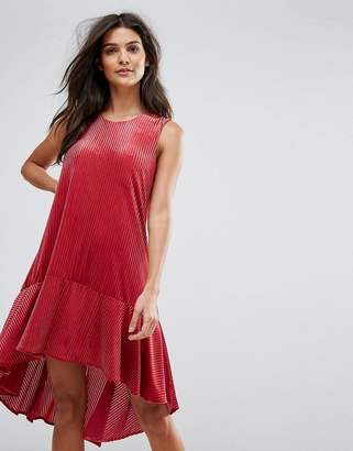 Vero Moda dip hem textured smock mini dress in red