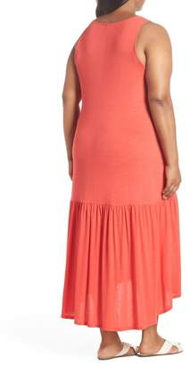 Sejour Sleeveless High\u002FLow Knit Maxi Dress (Plus Size)