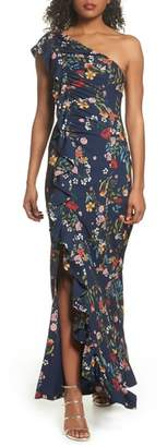 C/Meo Collective No Matter Floral One-Shoulder Gown