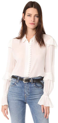FRAME Victorian Ruffle Blouse
