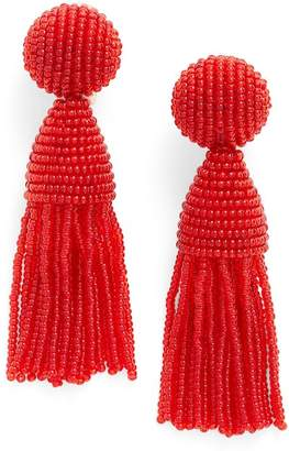 Oscar de la Renta Classic Short Tassel Drop Clip-On Earrings