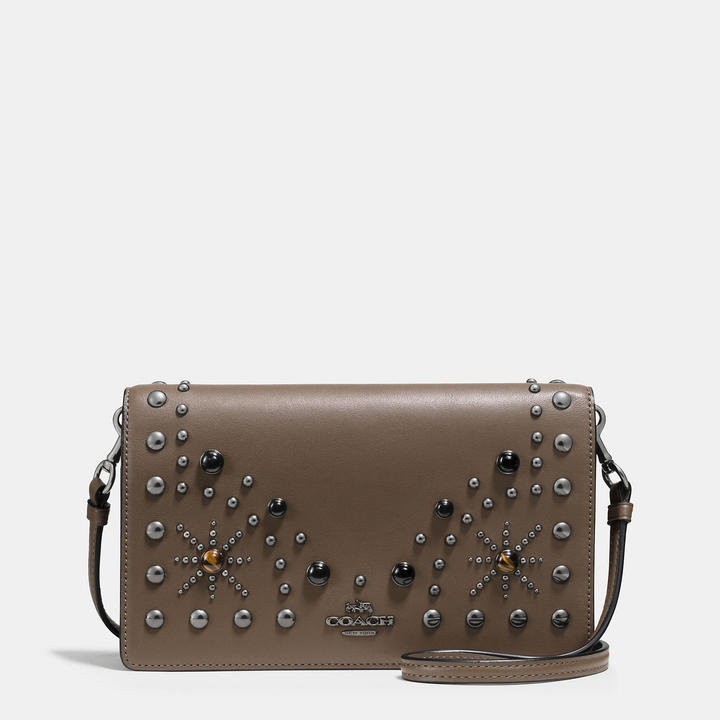 Coach   COACH Coach Western Rivets Foldover Crossbody Clutch In Glovetanned Leather