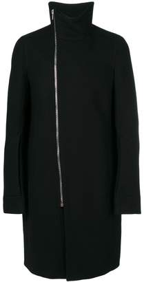 Rick Owens off-center zip fastening coat
