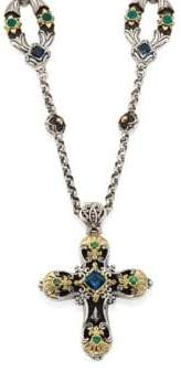 Konstantino Nemesis London Blue Topaz& Tsavorite Cross Pendant