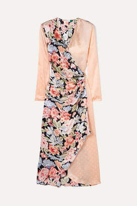 Rixo Betty Printed Satin Wrap Midi Dress - Peach