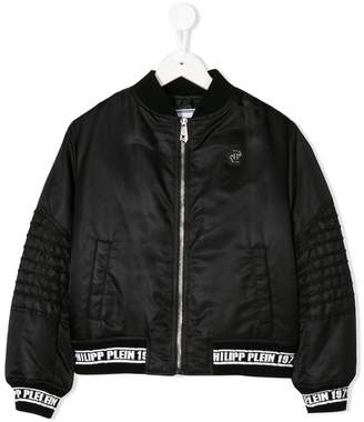 Philipp Plein Junior logo embroidered bomber jacket