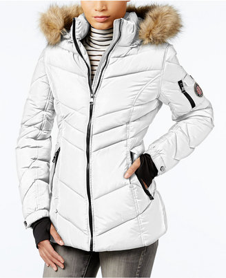 Madden Girl Faux-Fur-Trim Hooded Chevron Puffer Coat $125 thestylecure.com