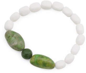 Handmade In Usa White Jade And Green Quartz Bracelet