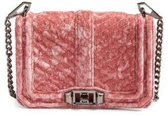 Rebecca Minkoff Small Love Velvet Crossbody Bag - Pink $175 thestylecure.com