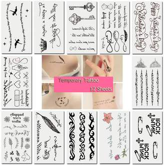 TAFLY Temporary Tattoo Stickers Various Word Designs Removable Waterproof Temporary Tattoos Body Art Sticker 12 Sheets