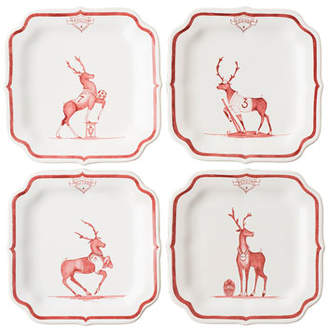 Juliska Country Estate Reindeer Games Party Plates, Set of 4
