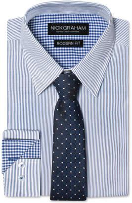Nick Graham Men Modern Fitted Striped Dress Shirt & Grid Tie Set