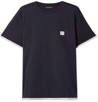 Acne Studios Elmo Face Appliquéd Cotton-jersey T-shirt - Navy