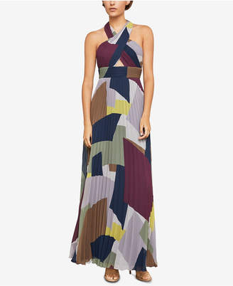 BCBGMAXAZRIA Pleated Colorblocked Halter Gown