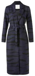 Ya-Ya Long Zebra Print Coat - EU36 UK8 - Blue/Black