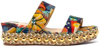 Christian Louboutin Janitag 60 floral-print satin flatform sandals