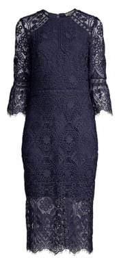 Shoshanna Women's Louisa Lace Midi Dress - Navy - Size 4