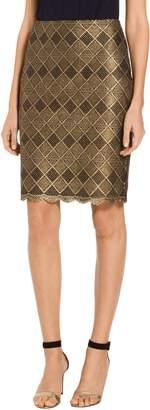 St. John Metallic Geo Motif Lace Skirt