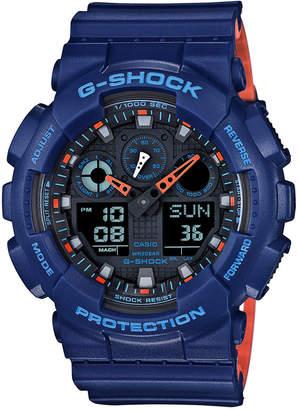 G-Shock Men's Analog-Digital Blue Resin Strap Watch 51x55mm GA100L-2A