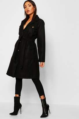 boohoo Pocket Detail Wool Look Coat