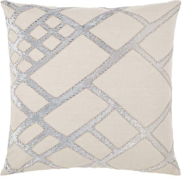 Kevin O'Brien Velvet-Appliquéd Linen Pillow