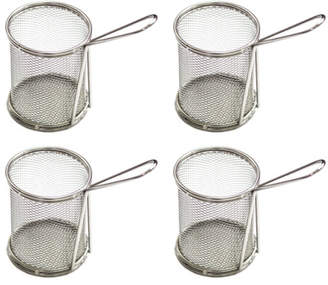 Circular Stainless Steel 4-Piece Mini Chip Bucket Set
