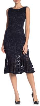 Marina Glitter Lace Flounce Dress