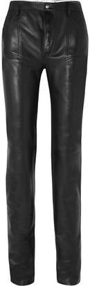 Thierry Mugler Reversible Leather Skinny Pants - Black