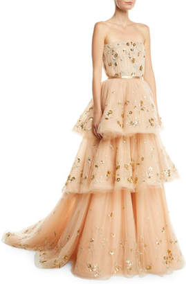 Carolina Herrera Strapless Floral-Embroidered Three-Tiered Tulle Ballgown