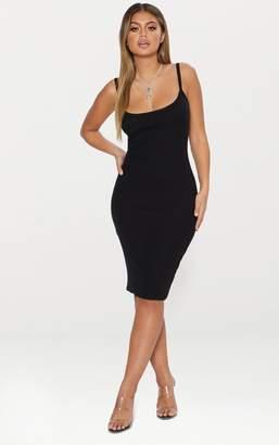PrettyLittleThing Black Second Skin Ribbed Scoop Neck Midi Dress 05745fdb3