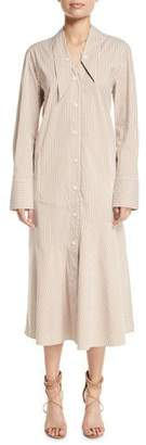 Tibi Kaia Striped Dropped-Waist Long Shirtdress