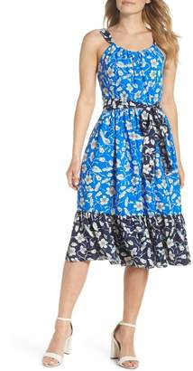 Eliza J Floral Bow-Back Fit & Flare Dress
