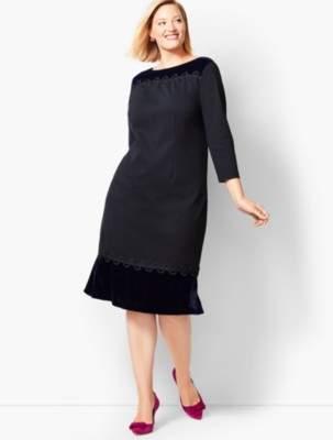 Talbots Refined Ponte & Velvet Dress