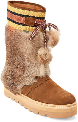 See by Chloe Brown Suede Real Fur Pom-Pom Boots