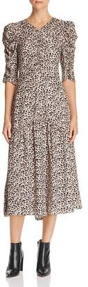 Rebecca Taylor Ruched Leopard-Printed Silk Dress