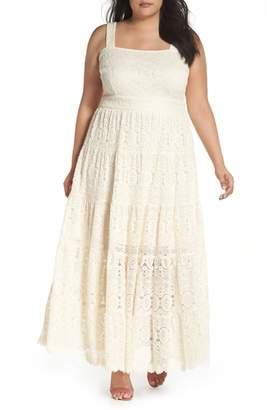 Eliza J Tiered Lace Maxi Dress